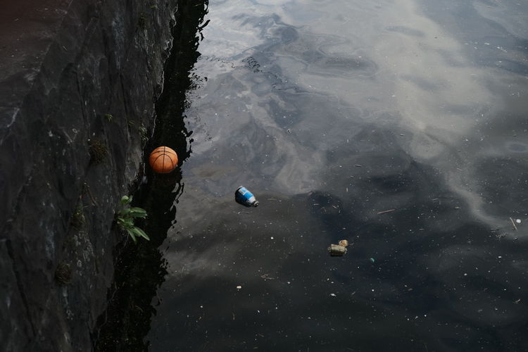 High angle view of a ball in a sea