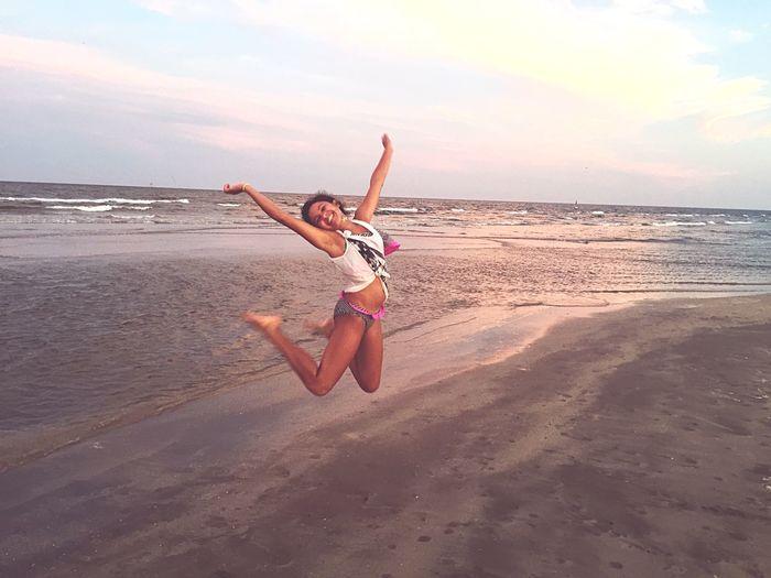 Capturing Freedom Jump Beach Sunset Sea My Daughter