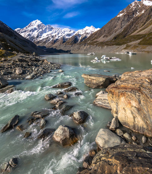 Aoraki Beauty In Nature Day Freshness Glacier Lake Lake View Landscape Mount Cook Mountain Mountain Range Mountains Nature New Zealand New Zealand Beauty New Zealand Scenery No People Outdoors Rocks Rocks And Water Scenics Snow Tranquility Travel Destinations Water