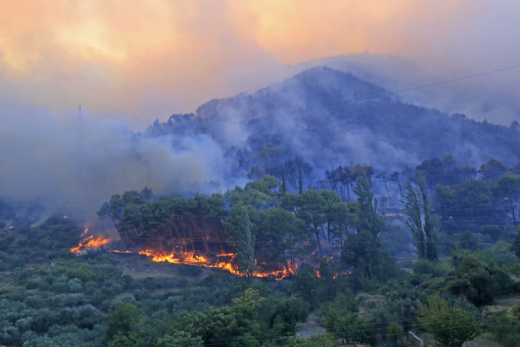 Panoramic view of fire on mountain against sky