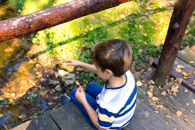 High angle view of boy in park during autumn