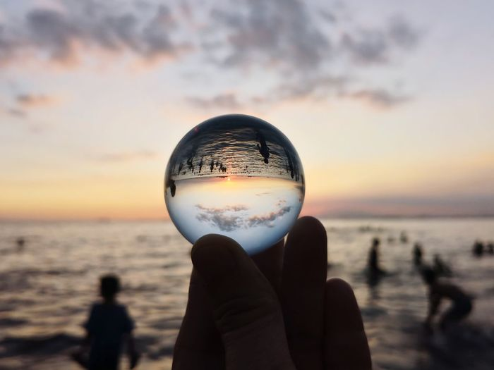 Sunset Water Sunset Beach Sea Men Upside Down Silhouette Reflection Crystal Ball Crystal Shore Glass - Material Crystal Glassware Scenics Skylight Horizon Over Water