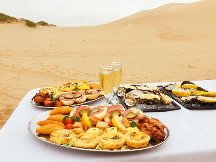 High angle view of food served on table at desert