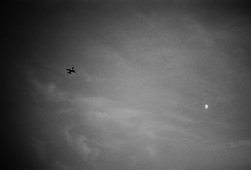 Sky Plane Moon Moonlight Black & White Black Sky Plane & Moon Airplane Black Moon Clouds