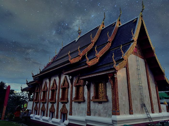Buddhist Temple In Thailand Buddhist Temple Darkness And Light Nightphotography Nighttemple Temple Sky Temple Art Buddist Temple Temple Thailand Temple Architecture Templephotography Night Sky Night View