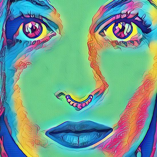 Me Multi Colored Art And Craft Close-up EyeEmNewHere Vinci App Colorful Green Blue Yellow Red Human Body Part Looking At Camera Front View One Woman Only One Young Woman Only Only Women Human Face Eyes Septum Peircing