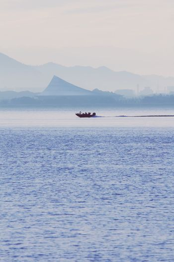 Transportation Mode Of Transport Nature Water Nautical Vessel Waterfront Beauty In Nature Scenics Outdoors Mountain No People Tranquility Day Sea Sailing Sky Morning View Biwako Silhouette 琵琶湖