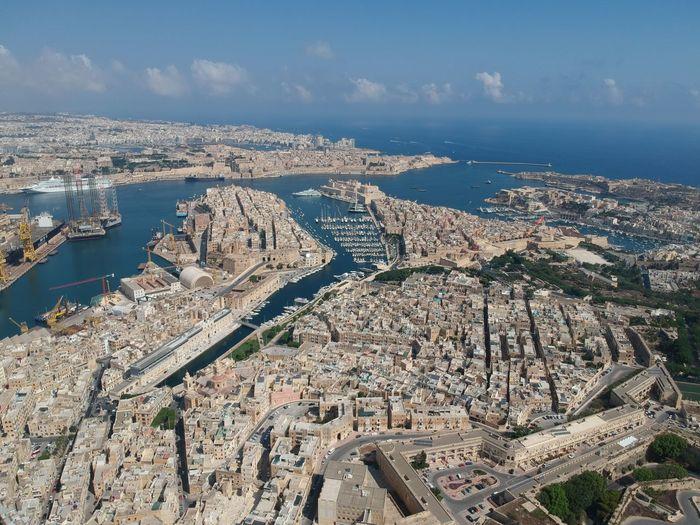 malta drone summer boat water harbour Aerial View Sky Landscape Horizon Over Water Sea Calm Rocky Coastline