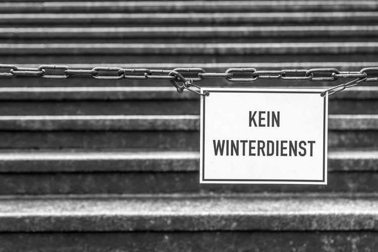 Copy Space No Winter Service Steps Close-up Communication Connection Day Focus On Foreground Information Information Sign Iron Message Metal No People Non-western Script Outdoors Protection Railing Safety Script Security Sign Steps And Staircases Text Warning Sign Western Script