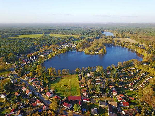 Rehfelde Grünheide Kagel Lake Aerial View Germany Water Scenics High Angle View Tree Landscape Tranquility No People Nature Day Beauty In Nature Building Exterior Architecture Agriculture Field Outdoors Sky Built Structure Clear Sky