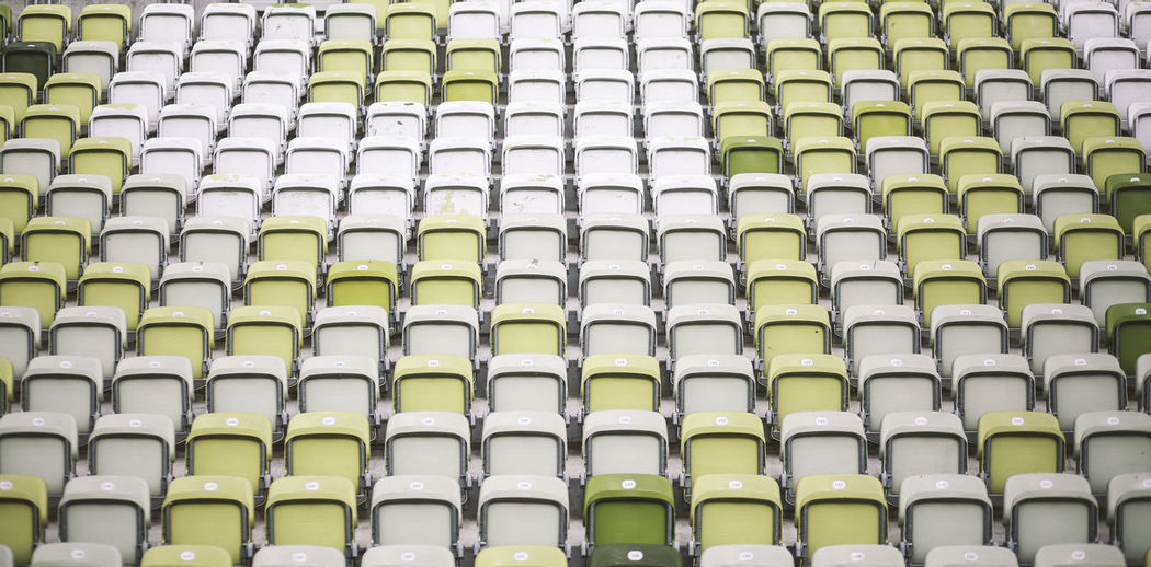 Architecture Football Stadium Stadium Seating Abundance Arrangement Backgrounds Close-up Day Full Frame In A Row Indoors  Large Group Of Objects Low Angle View No People Order Repetition The Week On EyeEm Mix Yourself A Good Time