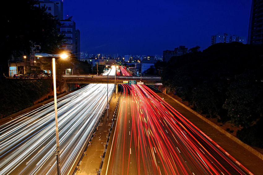 Light And Shadow Sampa Nightphotography Night Illuminated Light Trail Traffic Long Exposure Speed City Street Rush Hour City Life Highway Motion Transportation City Vehicle Light No People Stoplight Street Road Outdoors Red