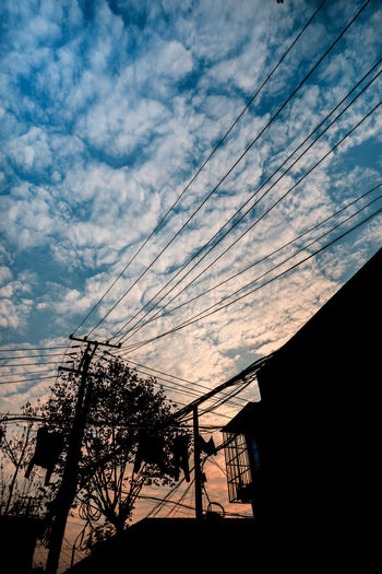Beauty In Nature Cloud - Sky Low Angle View No People Outdoors Silhouette Sky Telephone Line