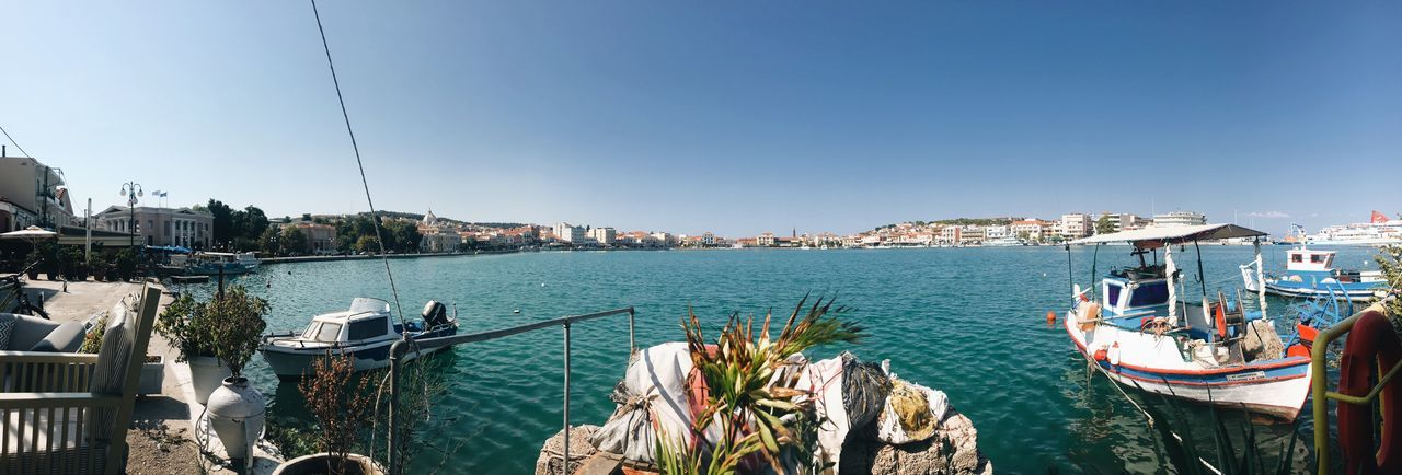 Panoramic Shot - Mytilene Port Greek Islands Mytilene Lesbos Greece EyeEm Selects Sky Water Architecture Nautical Vessel Nature Built Structure Sea Clear Sky Day City Travel Outdoors