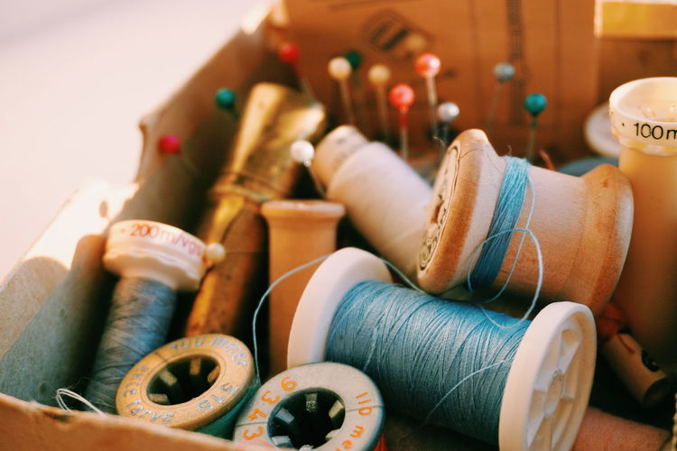 Close-Up Of Sewing Kit