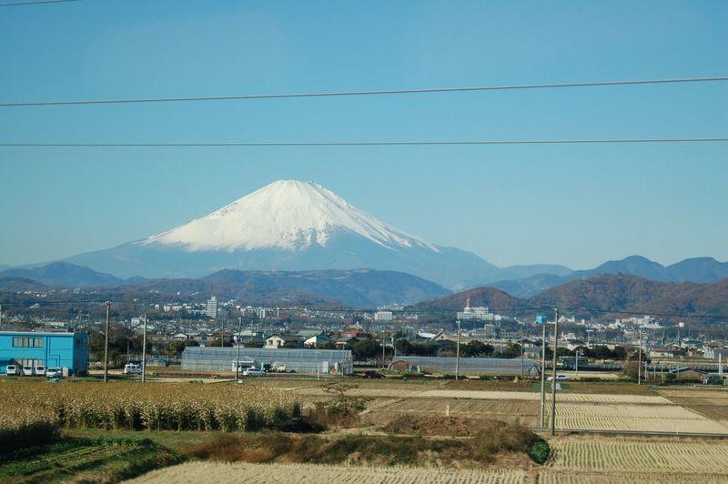 Mt. Fuji as seen from a Shinkansen on a clear December day Famous Place Fujiyama Japan Mountain Mountain Peak Mt Fuji Natural Landmark Scenics