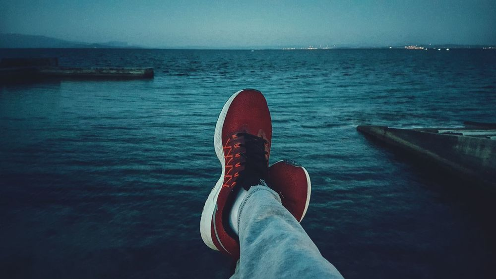 Enjoying The View Relaxing Legs Human Representation Sea View My Shoes Nikerunning Nike Seascape Stayingfit Running Time or... Relaxing Time Just Before Sunset Human Settlement The Human Condition Seaside Night Lights Sea Shoes Runningshoes Fit Fitnessaddict Fitnessmotivation Malephotographerofthemonth