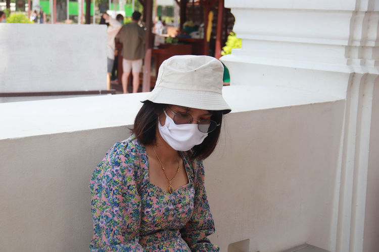 Face of a woman wearing a mask