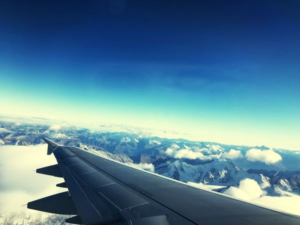 Sky Snow Winter Transportation Cold Temperature Airplane Air Vehicle Mode Of Transportation Blue Cloud - Sky Outdoors