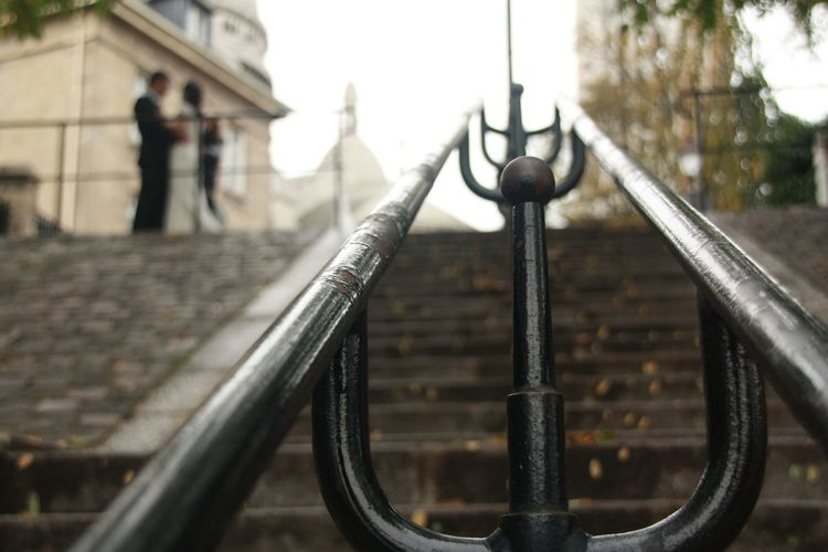 #Sacré-Cœur 18eme Autumn In Paris Couple Paris, France  Wedding Architecture Day Outdoors Railing Steps And Staircase