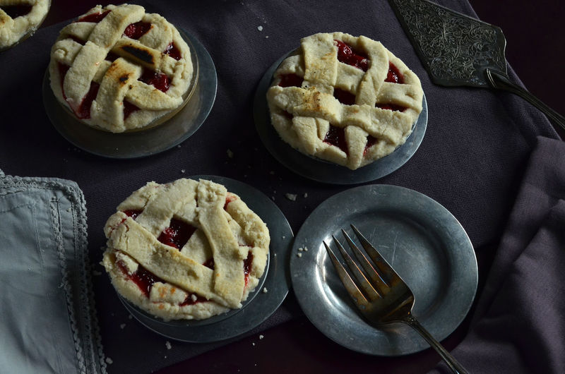 Close up of mini cherry pies