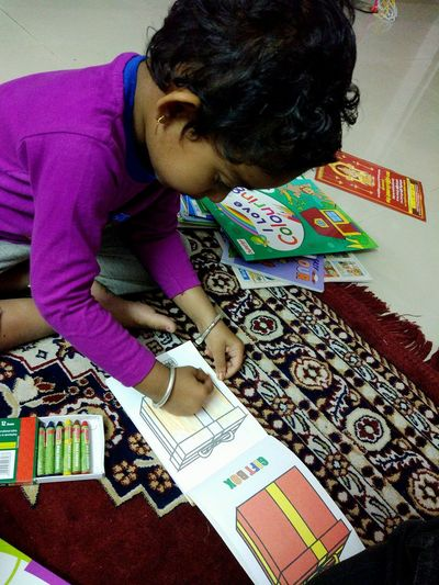 Started colouring with her new collections.