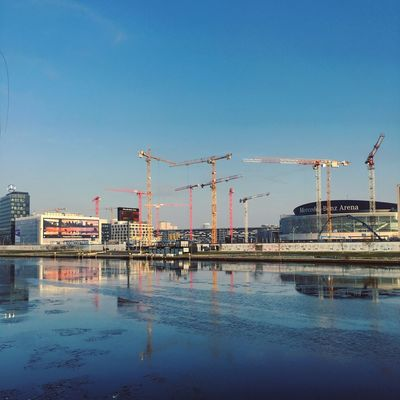 Architecture Berlin Photography Ice Spree Abstract Architecture Berliner Ansichten Berlinstagram Blue Building Exterior Built Structure City Clear Sky Construction Site Crane Crane - Construction Machinery Development Industry Minimal No People Outdoors Reflection Sky Water Waterfront