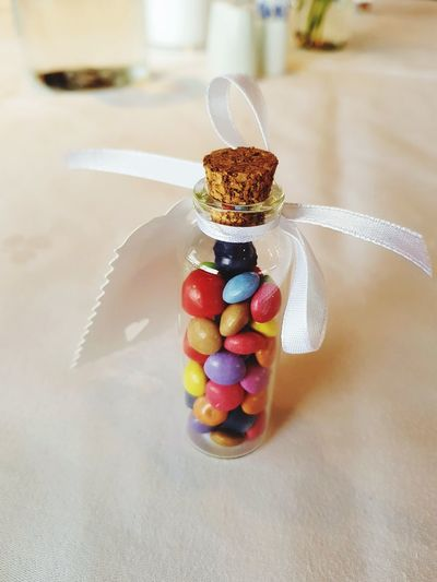 Wedding Gift Bottle Ribbon White Ribbon Cork EyeEm Selects Candy Multi Colored Celebration Close-up Sweet Food Food And Drink