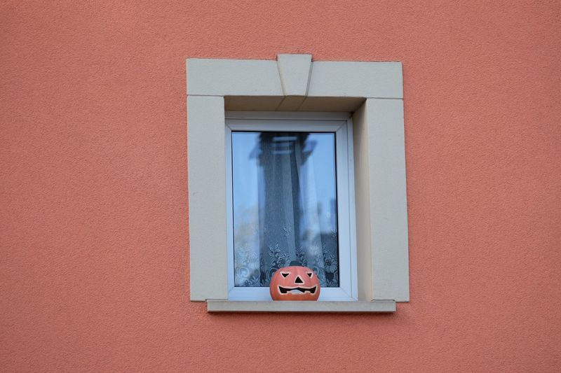 Jack o lantern on window