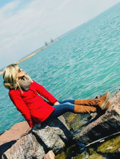 Blond Hair Blonde Nature Balaton Smile Happy Water Sea Beach Low Section Sky Close-up