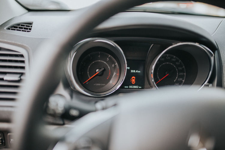 Car Car Interior Close-up Dashboard Day Gauge Indoors  Land Vehicle Mode Of Transport No People Selective Focus Speedometer Steering Wheel Transportation Vehicle Interior