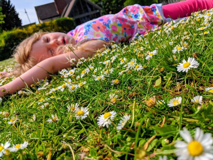 Side View Of Girl Lying Down On Flowering Field