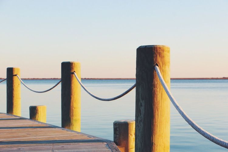 Sea Water Horizon Over Water Sky Nature Clear Sky Scenics Beauty In Nature Dock Ropes Wood Wooden