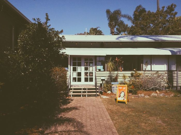 The reception. Tree Outdoors Built Structure Architecture Day Building Exterior No People Sky Australia Holiday Reception Holiday Village Caravan Park Building Entrance Door Sunny