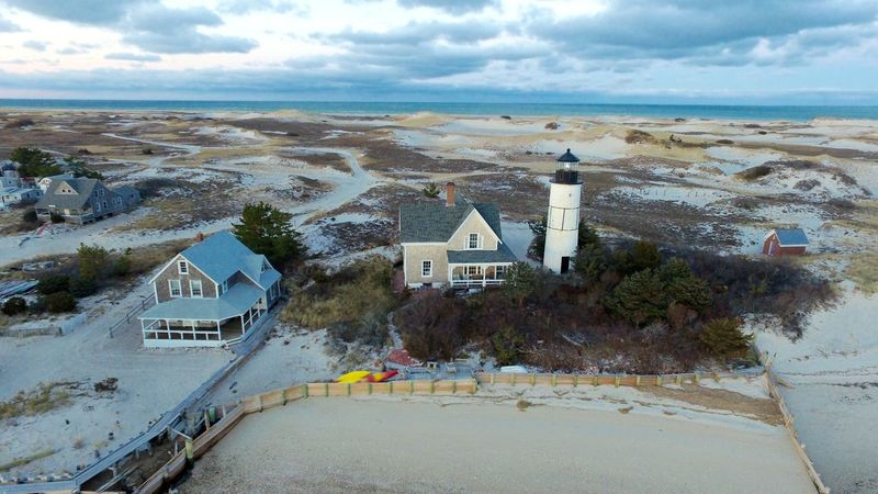 Sandy Neck Lighthouse Aerial at Barnstable, Cape Cod Cape Cod Lighthouse Barnstable Sandy Neck Coastal