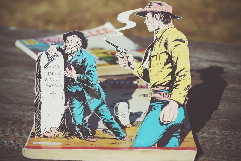 Tex Willer Tex Willer Comic Comics Scissors Cutting Comicbook Western Shooting Gun Cowboy Grave Sunny Duel Sheriff Pastel Power Cut And Paste The Still Life Photographer - 2018 EyeEm Awards