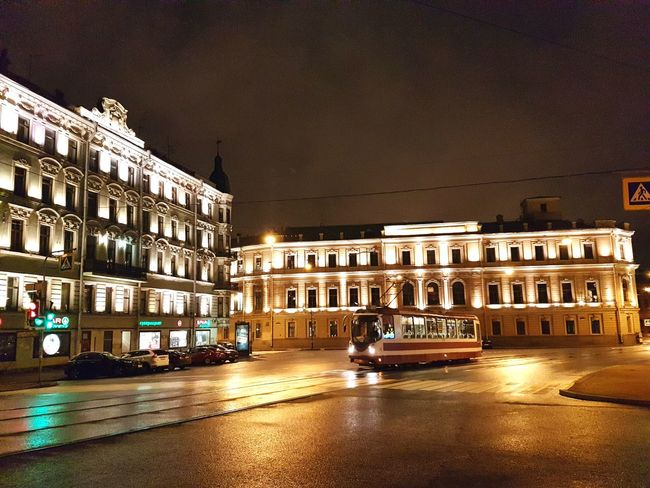 Ploshchad (square) Belinskogo in front of Fontanka River, St Petersburg Tram Stpetersburg Saintpetersburg Russia Russian Architektur Building Buildings Architettura Arquitectura Arquitetura СанктПетербург Street Square Lights Rainy Rain Wet Old Buildings Square City Illuminated Architecture Building Exterior Built Structure Town Square Façade Old Town