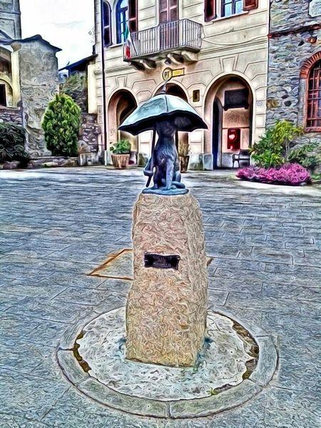 Monument of the umbrella in Carpugnino Digital Painting