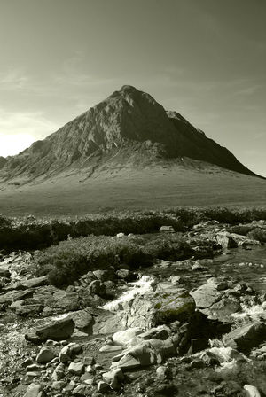 Etive Mor Glencoe Beauty In Nature Day Idyllic Landscape Mountain Nature No People Outdoors Physical Geography Remote Scenics Sepia Sky Tranquil Scene Tranquility