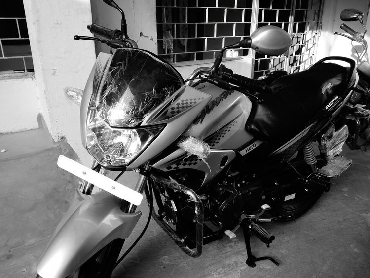 Motorcycle Blackandwhite High Angle View No People Day