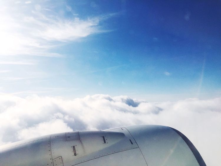 Window Seat Plane Wing View View From Above Sky Sky And Clouds Flight Blue Blue Sky