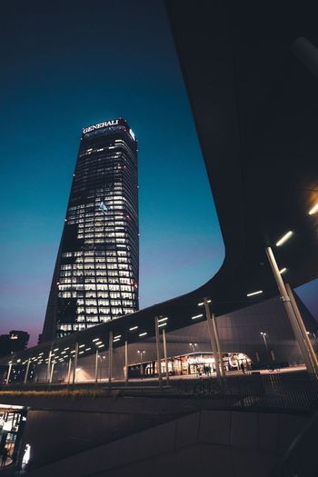 Milano Built Structure Architecture Sky Building Exterior Illuminated Low Angle View No People Outdoors Office Building Exterior Industry Transportation Night Dusk Blue Modern Nature City Tall - High Tower Travel Destinations
