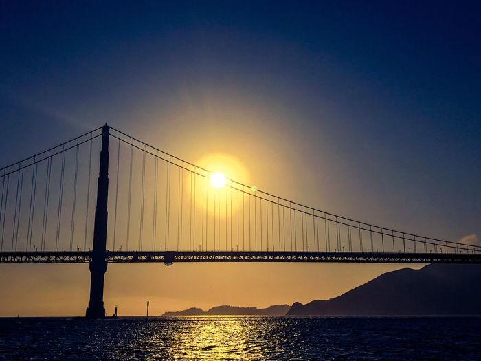 San Francisco Golden Gate Bridge Sky Water Sunset Bridge Bridge - Man Made Structure Connection Scenics - Nature Sun Beauty In Nature Nature Built Structure Sea No People Clear Sky Tranquil Scene Reflection Silhouette Architecture Tranquility Outdoors