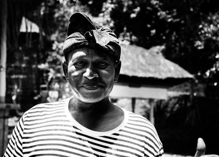 Bali, Indonesia Portrait One Person Front View Headshot Blackandwhite Real People Striped Looking At Camera Day Men Young Adult Hat Nature Smiling Outdoors