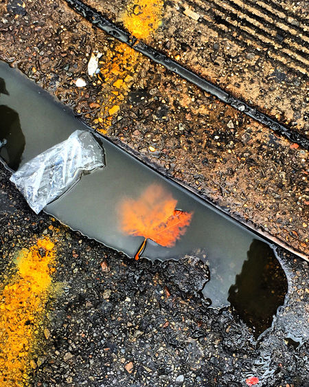 Reflection of clouds in puddle on road