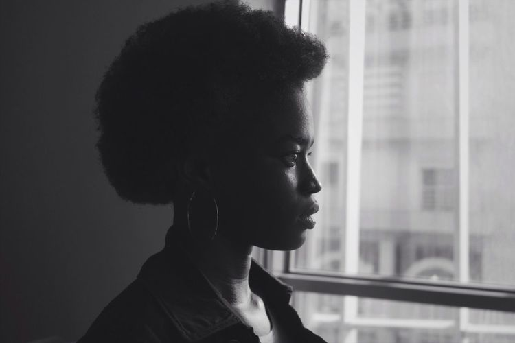 Side View One Person Close-up Day Young Adult People Blackandwhite Portrait Of A Woman Black And White Friday