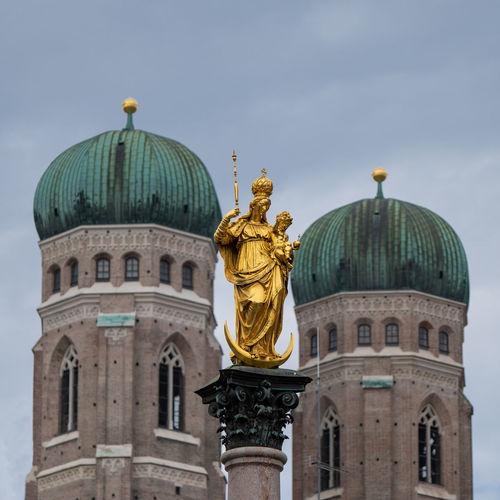 Architecture Religion Built Structure Building Exterior Sculpture Dome Statue Travel Destinations Gold Colored Travel Tourism No People Munich Marienplatz München