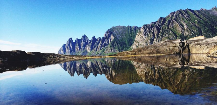 The Devil's Teeth from Ersfjord, Isle of Senja, Northern Norway Reflection Nature Scenics Mountain Tranquil Scene Idyllic Water Tranquility Clear Sky Mountain Range Outdoors No People Devils  Teeth Devil Senja  Seascape