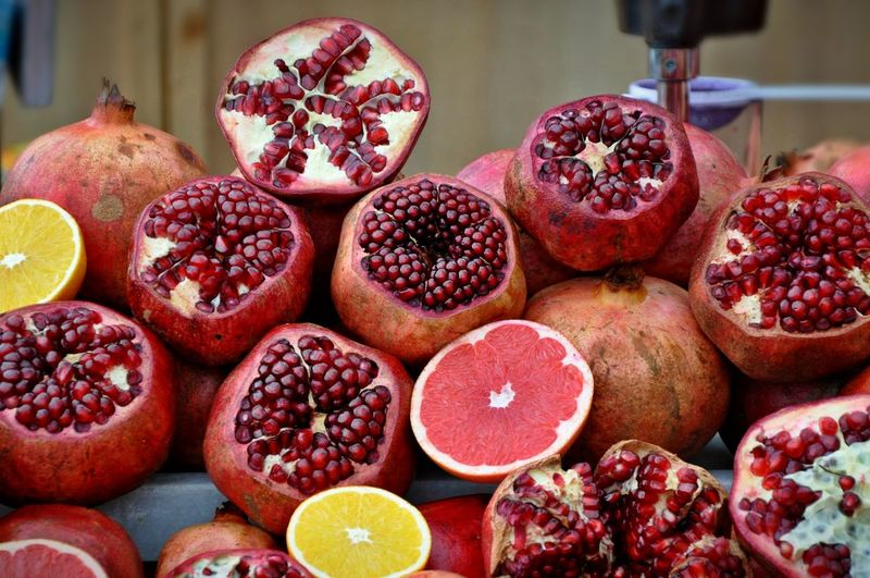 yummy.. Close-up Delicious Food Fresh Fruits Freshness Fruit Healthy Eating Lemon Market Pomegranate Pomegranate Seed Red