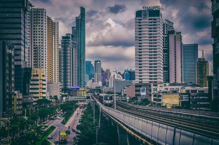 BTS Wong Wian Yai station Bangkok Thailand BTS Architecture Building Exterior City Sky Built Structure Skyscraper Transportation Cloud - Sky Car City Life Cityscape Road Development No People Traffic Outdoors Modern Land Vehicle Urban Skyline Day